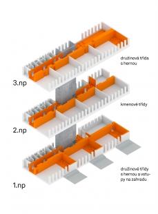 Přístavba pavilonu ZŠ Novoborská - Axonometrie - foto: XTOPIX