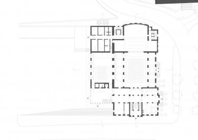 Revitalizace areálu sokolovny v Rokycanech - Půdorys 1.np - foto: Rusina Frei architekti