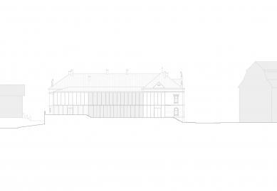 Revitalizace areálu sokolovny v Rokycanech - Pohled východ - foto: Rusina Frei architekti