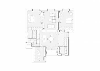 HLB - Půdorys bytu - návrh - foto: Kuklica Smerek architekti