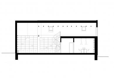 Obecní knihovna ve Statenicích - Podélný řez - foto: majo architekti