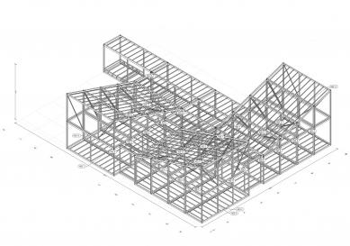 Modulární mateřská školka v Krakově - Axonometrie ocelové konstrukce - foto: Franta Group