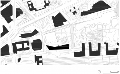 Ústřední knihovna Oodi vHelsinkách - Situace