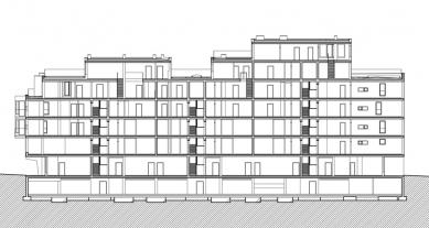 Bytový dům ul. Na Okraji - řez - foto: Atelier ANTA