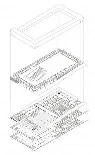 Hudební škola v Lisabonu - Rozložená axonometrie - foto: JLCG Arquitectos