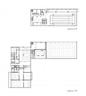 Súkromná základná škola Guliver - Půdorys 1.pp a 2.pp - foto: + uniformarchitects