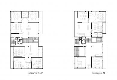 Súkromná základná škola Guliver - Půdorysy 2.np a 3.np - foto: + uniformarchitects