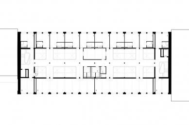 Hostel Silo v Basileji - Půdorys 2.np - foto: Harry Gugger Studio