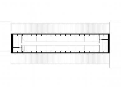 Hostel Silo v Basileji - Výkres střešní galerie - foto: Harry Gugger Studio