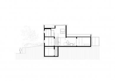 Dom pre rodinu sdomácimi zvieratkami - Příčný řez - foto: Sadovsky & Architects