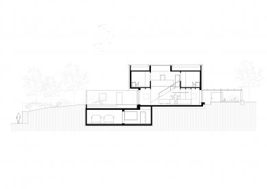 Dom pre rodinu sdomácimi zvieratkami - Podélný řez - foto: Sadovsky & Architects