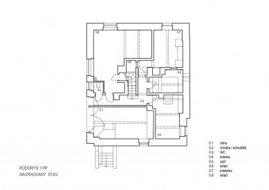 Obnova Müllerovy vily vOlomouci - Půdorys 1.pp - foto: Sborwitz Architekti