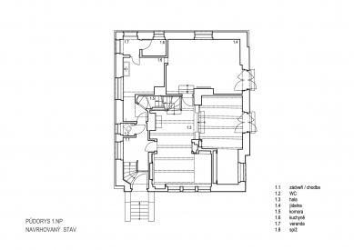 Obnova Müllerovy vily vOlomouci - Půdorys 1.np - foto: Sborwitz Architekti