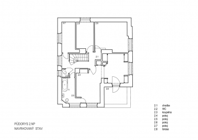 Obnova Müllerovy vily vOlomouci - Půdorys 2.np - foto: Sborwitz Architekti