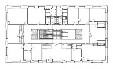 Rekonstrukce bývalé kotelny na administrativní budovu - typické patro - foto: Atelier ANTA