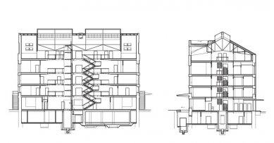 Rekonstrukce bývalé kotelny na administrativní budovu - řezy - foto: Atelier ANTA