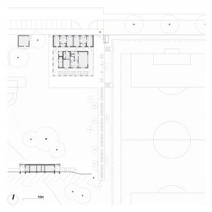 Sportovní areál, Praha-Lysolaje - Půdorys a řez - foto: knesl kynčl architekti
