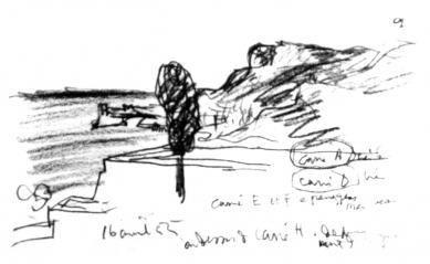 Hrob Le Corbusiera a jeho ženy Yvonne - Skica místa ze srpna 1955
