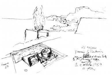 Hrob Le Corbusiera a jeho ženy Yvonne - Skica hrobu ze srpna 1962