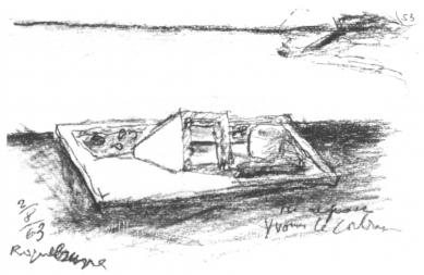 Hrob Le Corbusiera a jeho ženy Yvonne - Skica hrobu ze srpna 1963