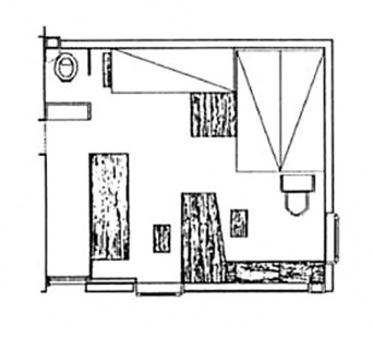 Le Cabanon  - Rozměry domku 366 x 366 x 266 cm.