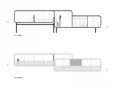 Casa pR34 - Podélný řez a pohled - foto: © rojkind arquitectos s.c.