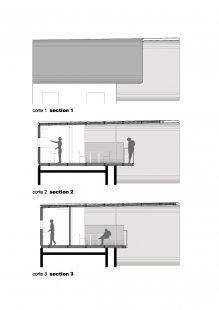 Casa pR34 - Příčné řezy a pohled - foto: © rojkind arquitectos s.c.