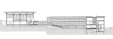 III. Základní škola a Městská sportovní hala - Řez - foto: Architektonická kancelář Burian - Křivinka