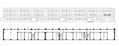 Rekonstrukce administrativní budovy firmy Milos - Pohled a půdorys 3.NP - foto: Atelier UM