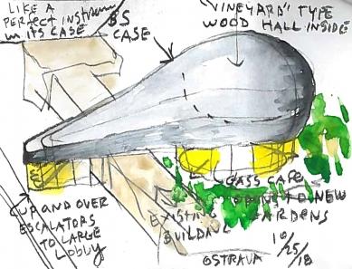 Steven Holl. Making Architecture - výstava v Ostravě - Návrh budovy nového koncertního sálu v Ostravě - foto: Steven Holl Architects