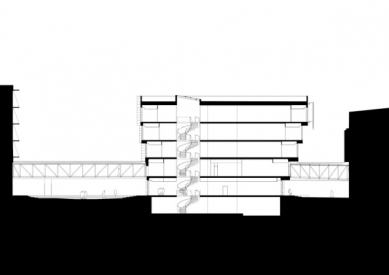 Kancelářská budova Kuggen v Göteborgu od Gerta Wingårdha - Řez