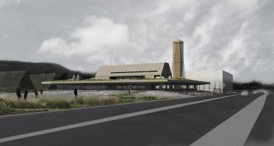 Studie archeoparku v Přísovicích - Pohled z dálnice ve směru od Liberce - foto: ATAK architekti