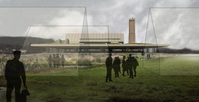 Studie archeoparku v Přísovicích - Pohled ze severovýchodu od skanzenu - foto: ATAK architekti