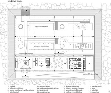 Studie archeoparku v Přísovicích - Půdorys 1.np - foto: ATAK architekti