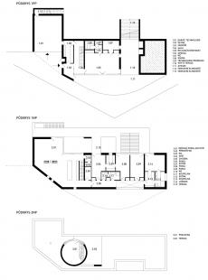 Rodinný dům s důmyslným atriem a neobvyklou fasádou <nobr>z polykarbonátů,</nobr> laminátů a velkých prosklených ploch - Půdorysy