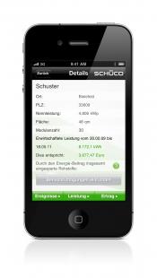 Řídící jednotka Schüco E³ Tower pro energeticky soběstačné objekty - Internetová aplikace Schüco Sunalyzer APP