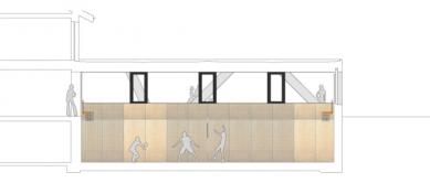 Sportovní hala v Curychu od  L3P Architekten - Podélný řez - foto: L3P Architekten