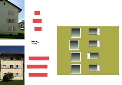 Sídliště Glättlistrasse v Curychu od L3P Architekten - Evoluce fasády - foto: L3P Architekten