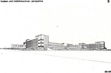 K 105. výročí narození českého architekta Václava Zralého - Návrh na chlapeckou a dívčí školu: diplomní projekt na Bauhausu, konzultant Ludwig Mies van der Rohe, 1931 - pohled