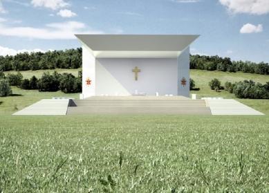 Oltář pro papežskou mši ve Freiburgu od Wernera Sobeka - Vizualizace - foto: WERNER SOBEK Engineering & Design