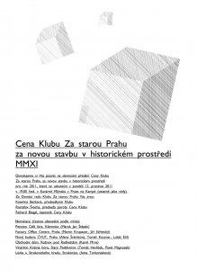 Pozvánka na slavnostní předání Ceny Klubu Za starou Prahu za novou stavbu v historickém prostředí 2011