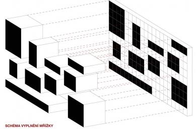 Tomáš Zdvihal (6. roč) - Neues Bauhaus Museum Weimar - Schéma vyplněné mřížky - foto: Tomáš Zdvihal
