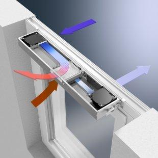Integrovaný okenní větrací systém Schüco VentoTherm s rekuperací vzduchu, filtrem a automatizovaným ovládáním - Filtrovaný čerstvý vzduch je ohříván pomocí odsávaného vzduchu a následně je přiváděn do místnosti.