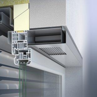 Integrovaný okenní větrací systém Schüco VentoTherm s rekuperací vzduchu, filtrem a automatizovaným ovládáním - Větrací systém se montuje do horní části okna a tvoří s ním sladěný celek.