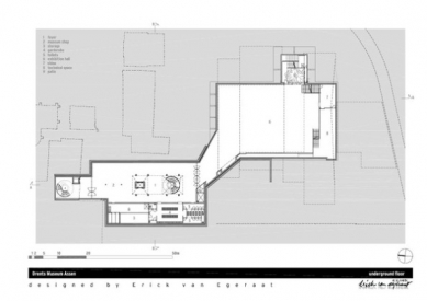 Rozšíření Drents Museum v Assen od Ericka van Egeraata - Půdorys suterénu - foto: EEA