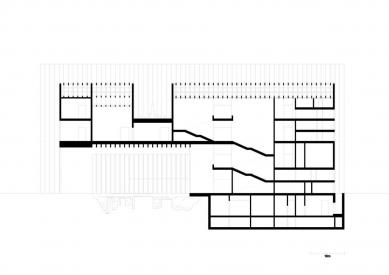 Vítězný projekt muzea umění v Remeši od Davida Chipperfielda - Podélný řez - foto: David Chipperfield Architects