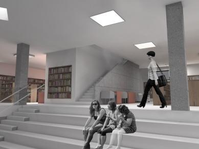 Marta Chaloupková (4.roč) - Městská knihovna Boskovice - Interiér schodiště s hledištěm v prvním podzemním patře - foto: Marta Chaloupková