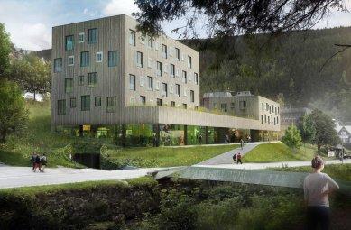 Rekonstrukce a dostavba obchodního střediska Sněžka vPeci pod Sněžkou - Druhé místo - Projektil architekti