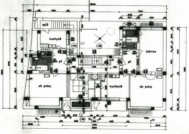 Odešel poslední Gočárův žák - Obytný dům v Nymburce (1939) - půdorys přízemí - foto: archiv autora