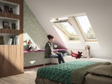 Díky novému designu je plocha zasklení střešního okna větší o 10 % -  Nová generace střešních oken VELUX nastoluje novou éru bydlení v podkroví, kde hlavní roli hraje více světla, více pohodlí a méně spotřebované energie.